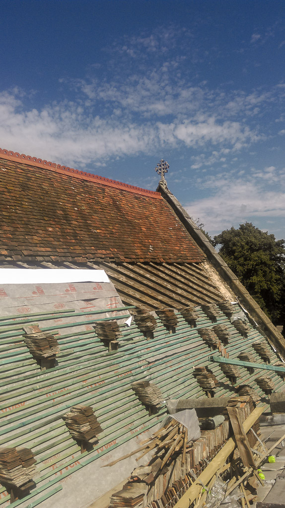 New Tyvek Supro breather membrane and new tanalised battens with diagonal rafters underneath this with internal oak boarding & St Dunstanu0027s Church Cranbrook u2013 Tenterden Roofing memphite.com